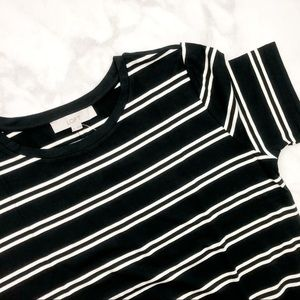 LOFT Dresses - Black & White Striped Fitted Tee Dress